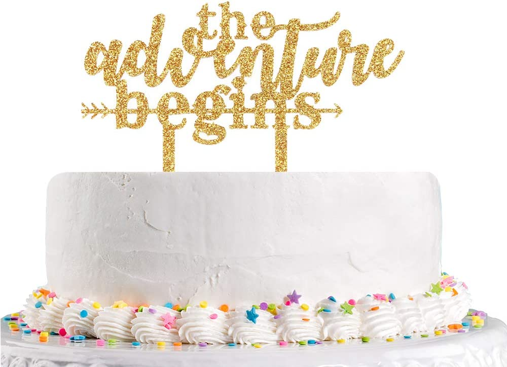 The Adventure Begins Wooden Wedding Cake Topper Arrow Rustic Decoration