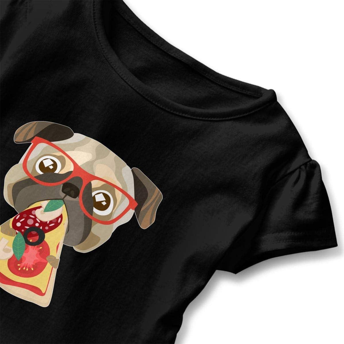 Cheng Jian Bo Pug /& Pizza Toddler Girls T Shirt Kids Cotton Short Sleeve Ruffle Tee
