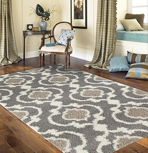 "Rugshop Cozy Moroccan Trellis Indoor Shag Area Rug, 7'10"" x 10', Gray/Cream"