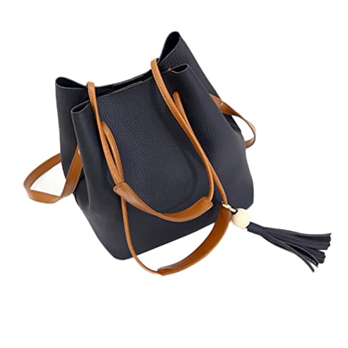 40b57a595689 Elaco Women Leather Handbag Shoulder Bucket Tole Bag+Clutch Bag