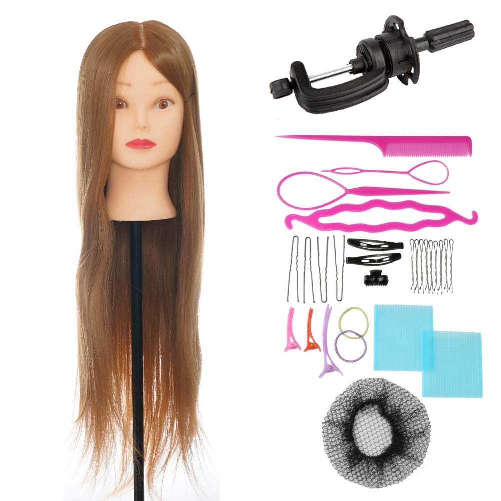 ViogrIA 28 Loog Hair Mannequin head Practice Training Head Cosmetology Mannequin Head Manikin Doll Head with Clamp & Braiding Tool