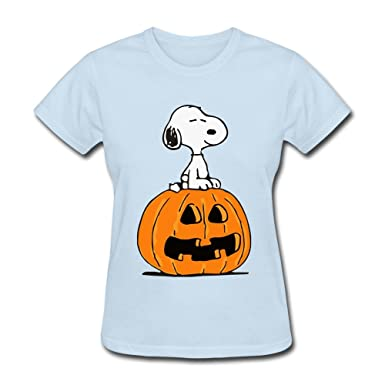 36693163 Amazon.com: RIDA Halloween Cute Snoopy Sitting On Pumpkin T-shirts For Women:  Clothing