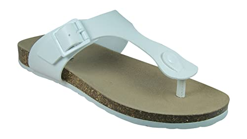 b300fa706 SODA New Womens Thong Flat Form Cork Footbed T-Strap Buckled Flat Flip Flop  Sandals