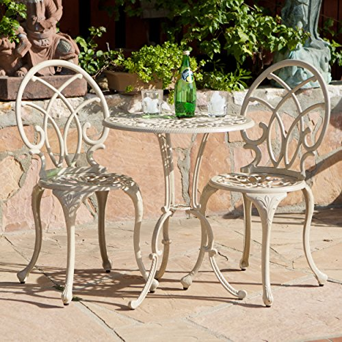 3-piece Bistro Set with 2 Chairs and a Table. Aluminum and Iron with a Sand Finish. Sand Color. Indoor or Outdoor Patio Furniture. Scented Tart Included (Outside Table And Chairs For Sale)