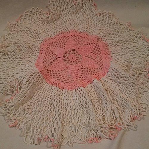 Handmade Crocheted Pink & White Doily (Doilie) 18