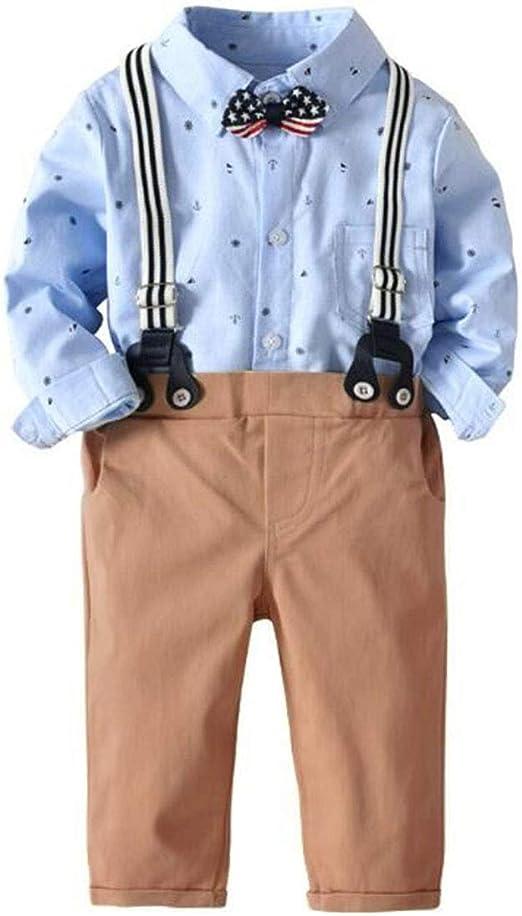Toddler Baby Boys Bow Tie Tops Romper+Braces Pants Gentleman Clothes Outfit Suit