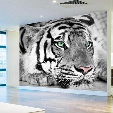 Makeyong Custom 3d Photo Wallpaper Black White Animal Tiger