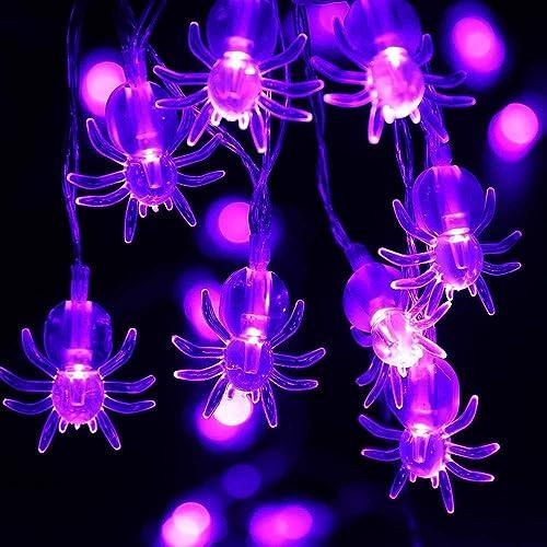 Halloween Decorations Spider Lights 2 Packs 30 LED Battery Powered Led String Lights for Halloween Decor Purple Lights