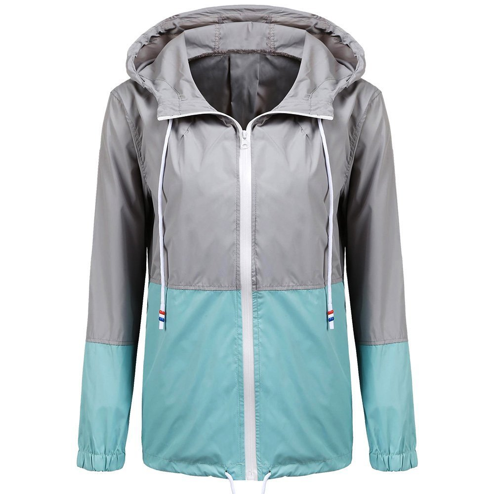 Lisik Women's Waterproof Raincoat Lightweight Outdoor Hooded Rain Jacket with Zipper