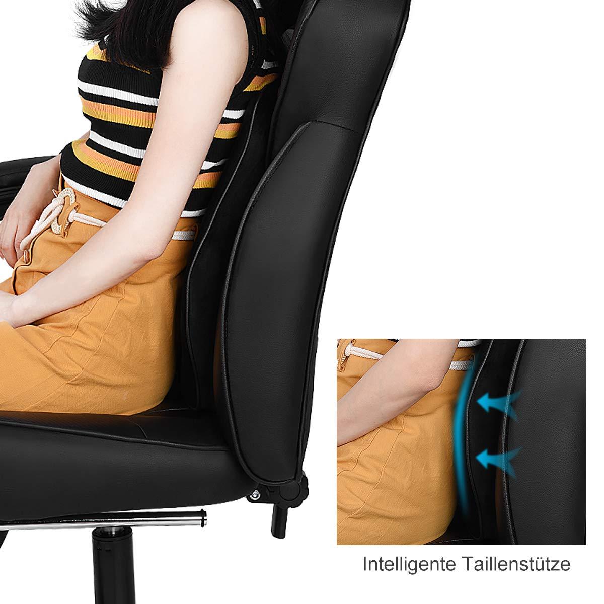ILFALZT Cuscino Lombare Sedia da Ufficio con poggiapiedi Girevole ergonomico Colore: Nero Regolabile in Altezza