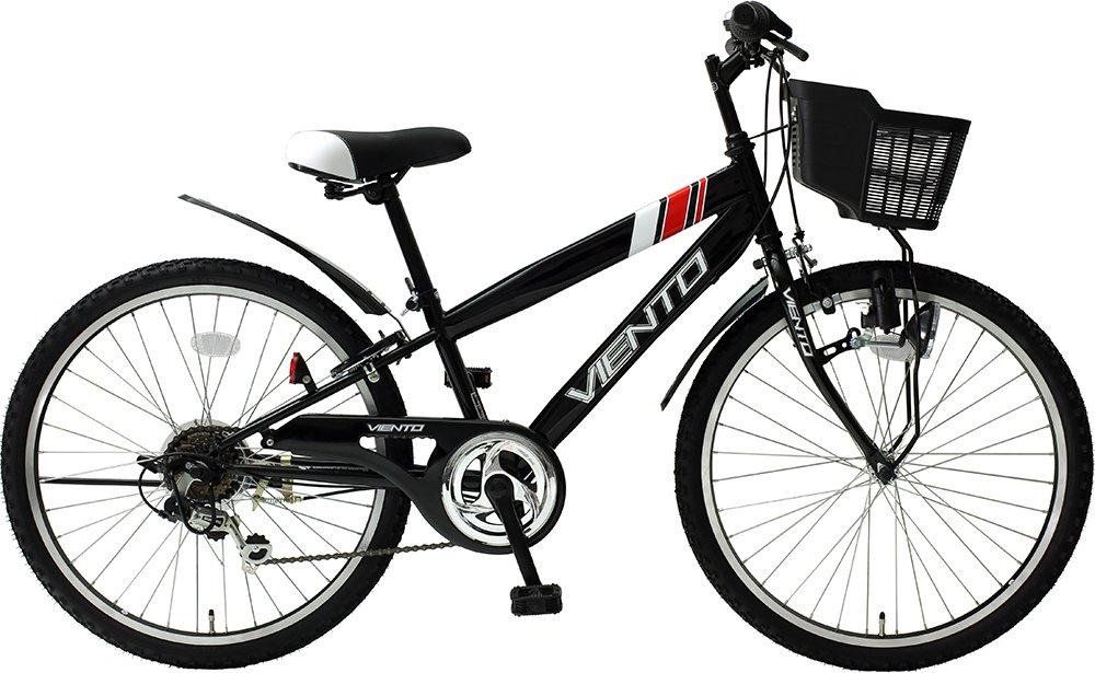 子供用自転車 24インチ ジュニアマウンテンバイク CTB シマノ6段変速ギア カゴ 鍵 ライト 泥除け チェーンカバー付き CTB246-BK シティサイクル キッズバイク TOPONE B018S5YTQO