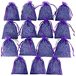 D'vine Dev 15 French Dried Lavender Sachets Craft Bag - Lavender Sachets for Wedding Toss, Home Fragrance Sachets for Drawers and Dressers, Lovely Dried Lavender Flower Buds Sachets
