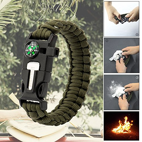 Epartswide Multifunctional Outdoor Survival Paracord Bracelet with Flint Fire Starter,Compass,Emergency Whistle&Knife/Scraper Pack of 7 by Epartswide (Image #3)