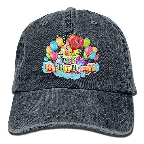 DEFFWB Hat Happy Birthday Denim Skull Cap Cowboy Cowgirl Sport Hats for Men Women