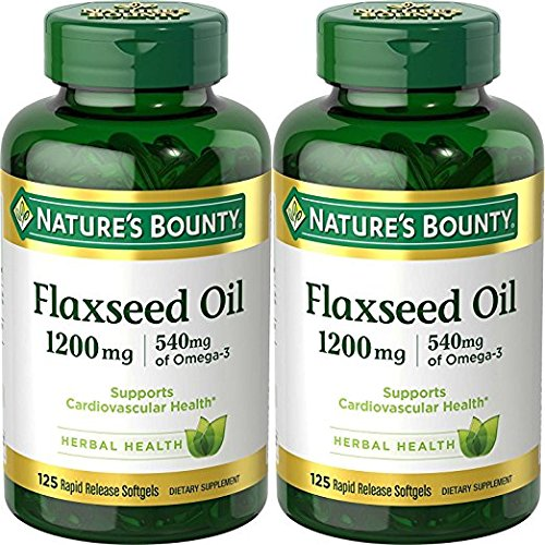 (Nature's Bounty Natural Cold Pressed Flaxseed Oil, 1200mg, 250 Softgels (2 x 125 Count Bottles) by Nature's)