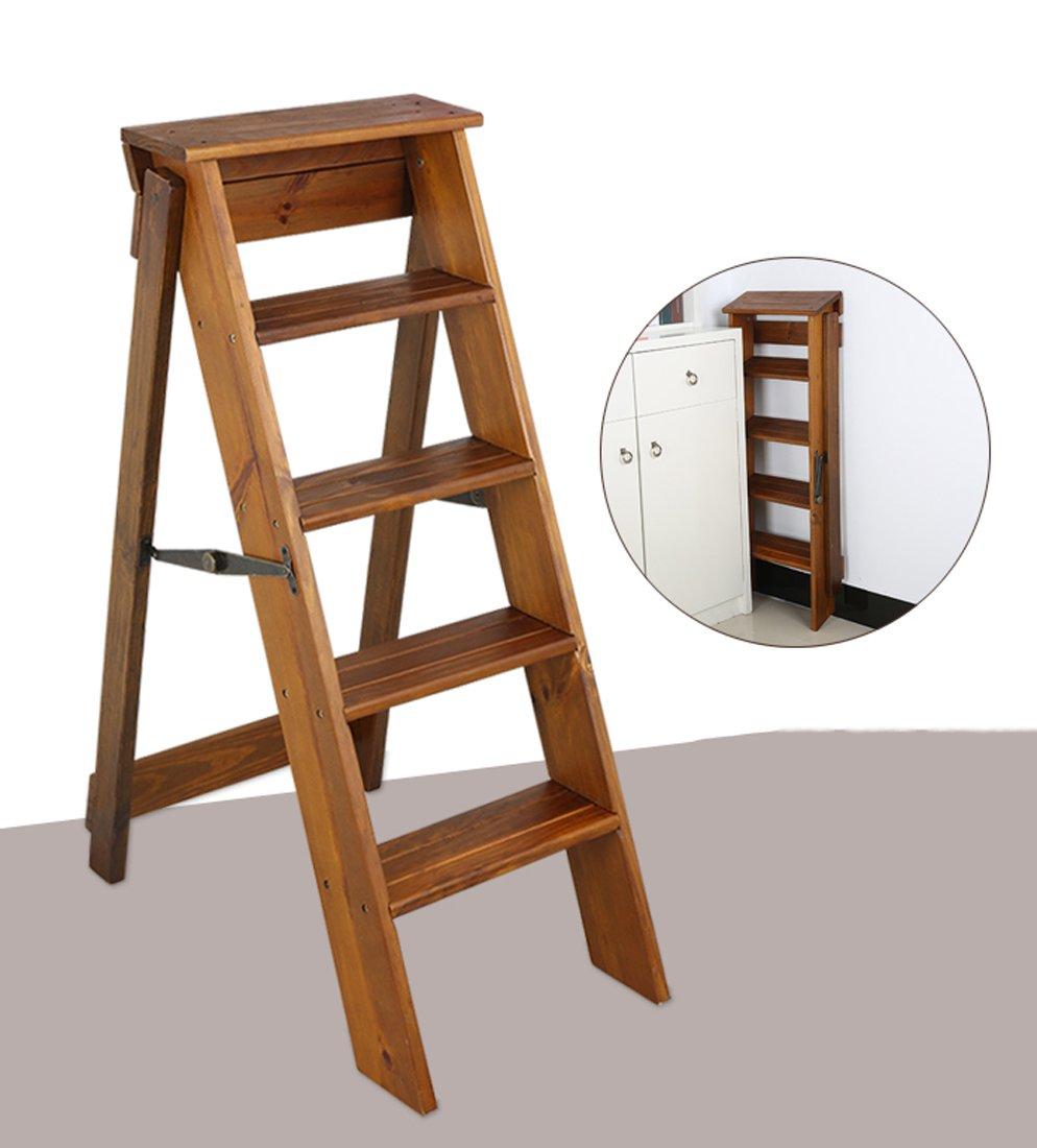CAIJUN 折り畳み梯子 二重使用 無垢材 屋内 5つのステップ パイン材 繊細な 階段ラック ステップ (色 : 1#) B07DH5CXDD  1#