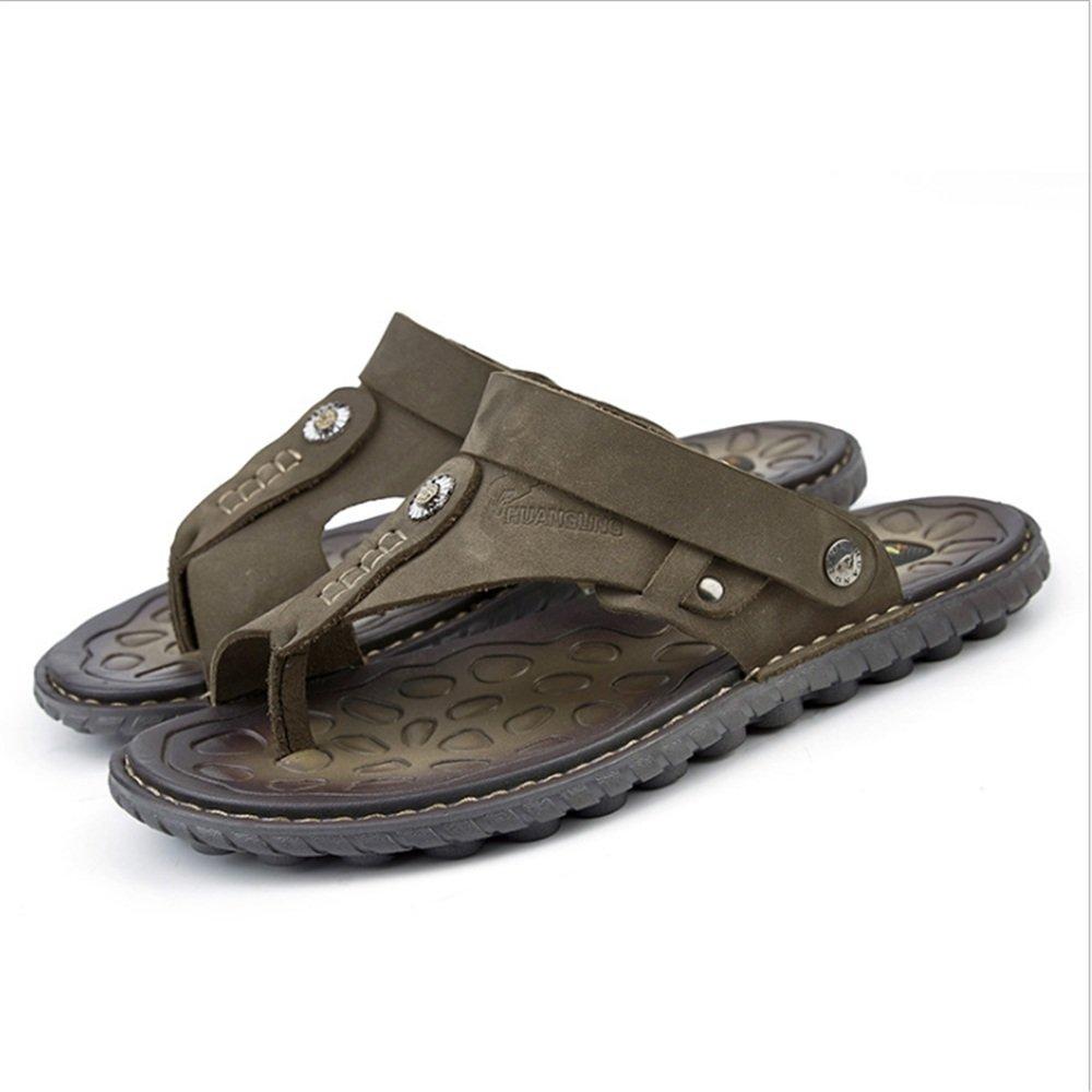 Zapatillas Sandalia para Hombres Al Aire Libre, Deportes Zapatos Antideslizantes De Cuero con Sandalias (24.0-27.0) CM Zapatos de Playa 40 2/3 EU|Verde