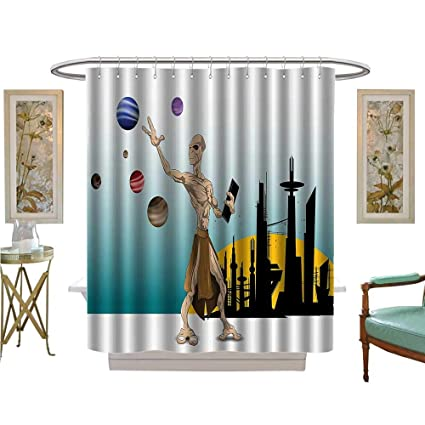 Amazon Vanfan Shower Curtains Mildew Resistant Odd Alien