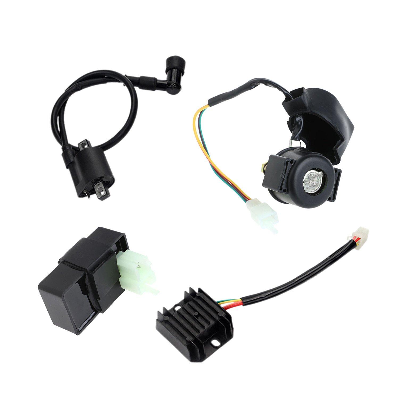 MuZuZi Rectificador Regulador Bobina de encendido CDI Relé de arranque para CG125 150 250CC ATV Accesorios