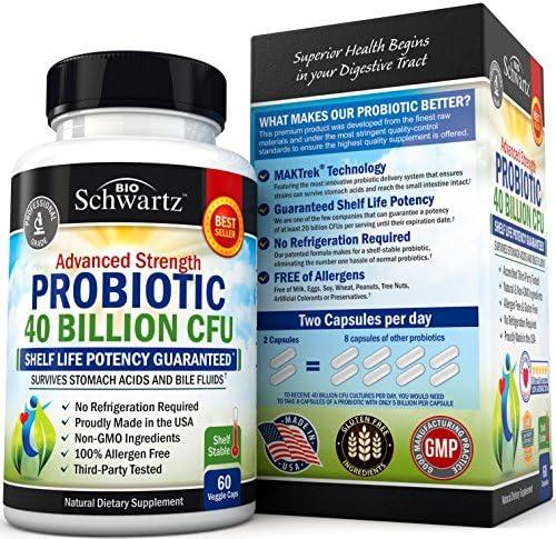 Probiotic 40 Billion CFU Guaranteed Potency until Expiration - Patented Delay Release, Shelf Stable - Gluten Dairy Free Probiotics for Women & Men - Lactobacillus Acidophilus - No Refrigeration Needed 5