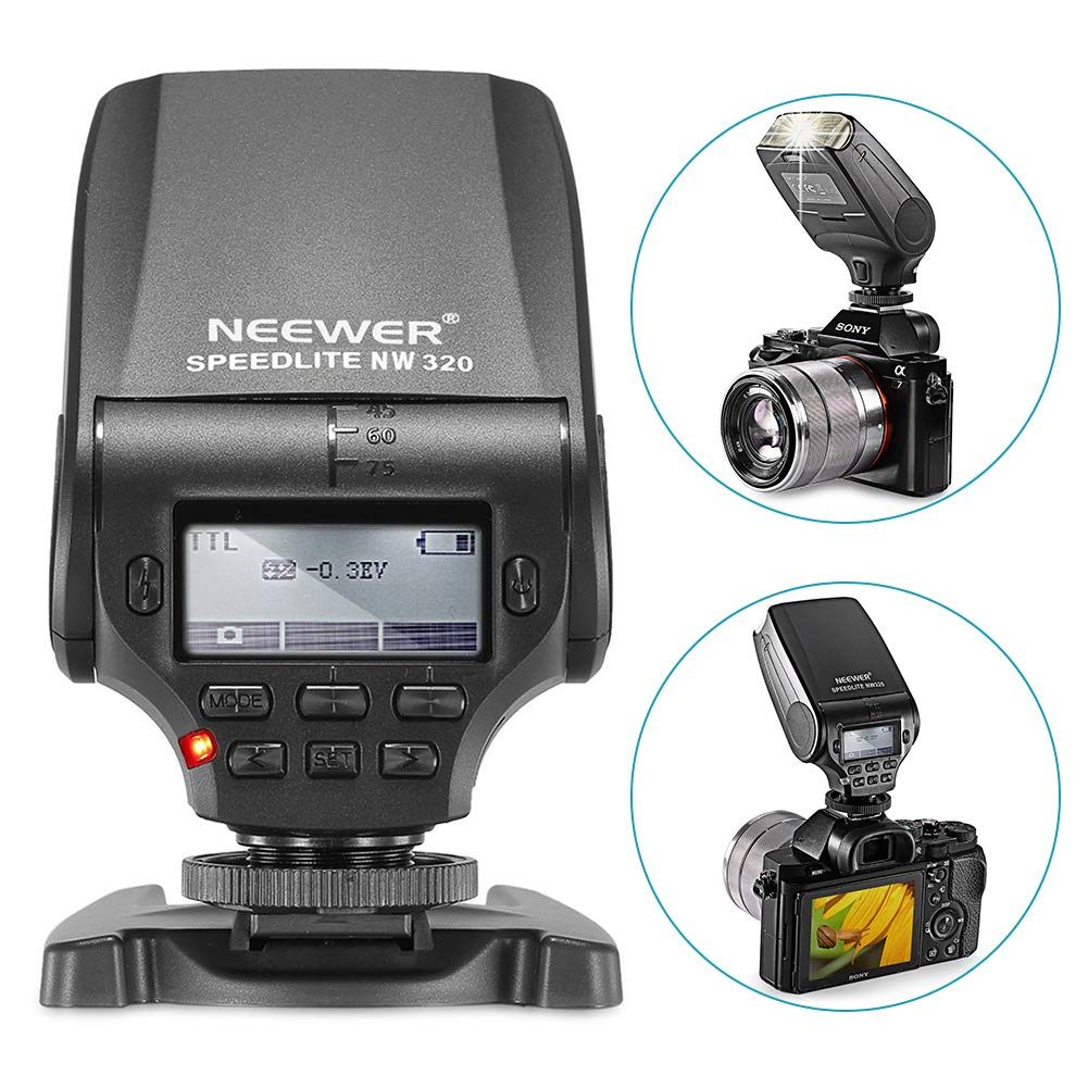 Neewer NW320 Mini TTL Speedlite Flash Automatic Flash Compatible with Sony  MI Hot Shoe DSLR and Mirrorless Cameras A6000 A6300 A6500 A7 A7II A7RII
