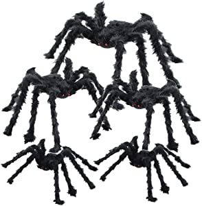 BEIGUO 5pcs Halloween Spider Gaint Hairy Spider with Red Eyes,Bendable Legs Scary Halloween Spider Decorations for Patio,Yard,Garden,House(1pcs 30