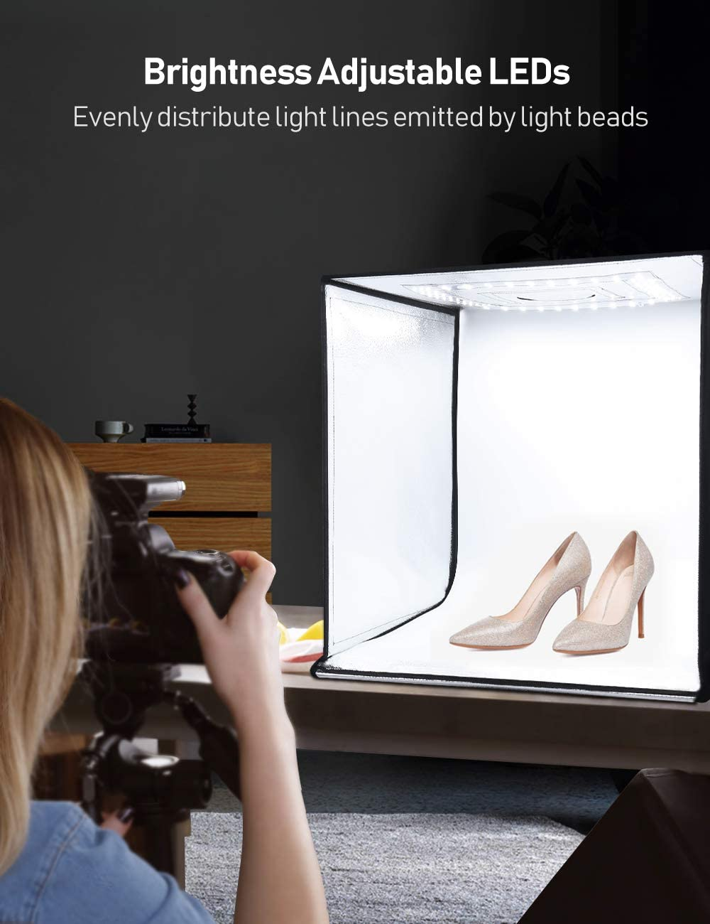 ESDDI Photo Studio Light Box 20//50cm Adjustable Brightness Portable Folding Hook /& Loop Professional Booth Table Top Photography Lighting Kit 120 LED Lights 4 Colors Backdrops