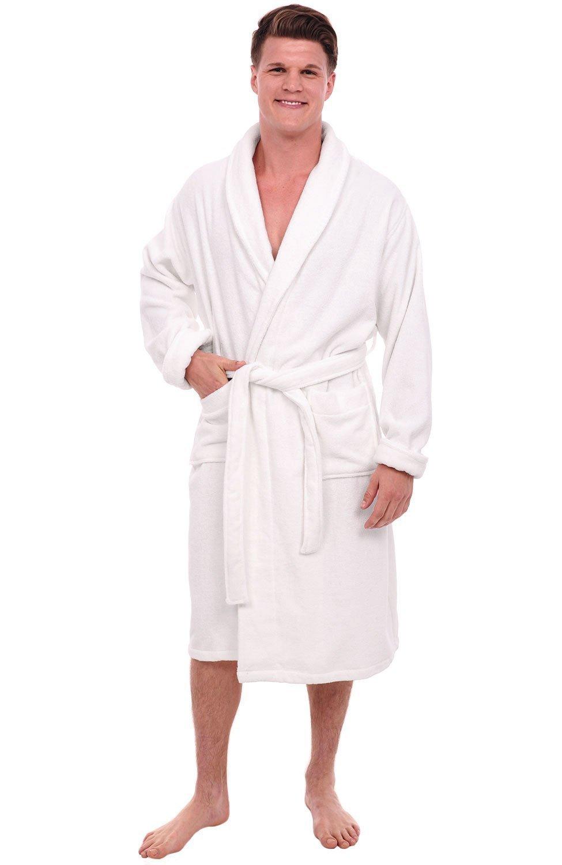 Alexander Del Rossa Mens Turkish Terry Cloth Robe, Thick Bathrobe, Small Medium White (A0106WHTMD)
