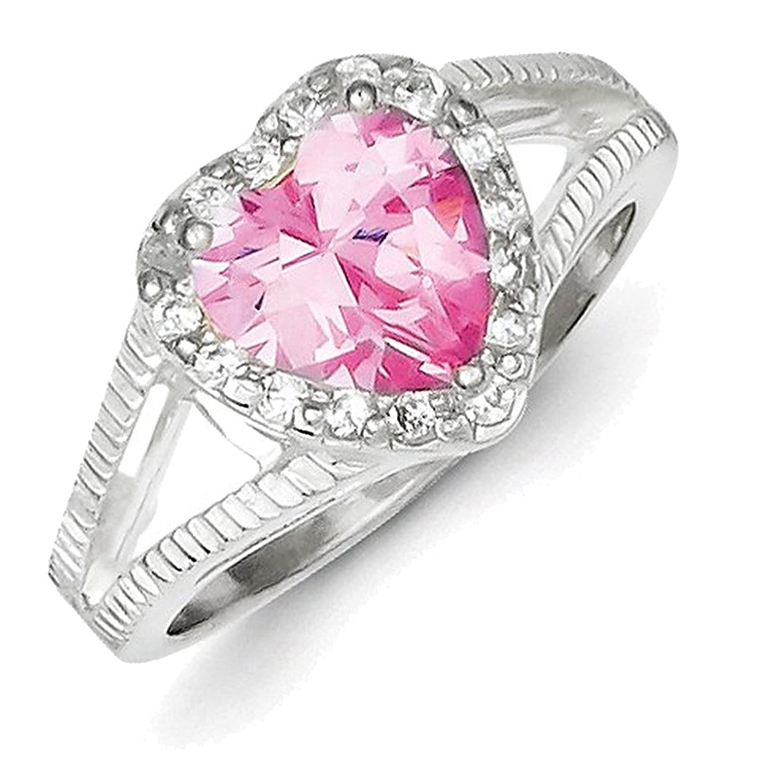 Sterling Silver Pink CZ Heart Ring QR4389: Amazon.co.uk: Jewellery