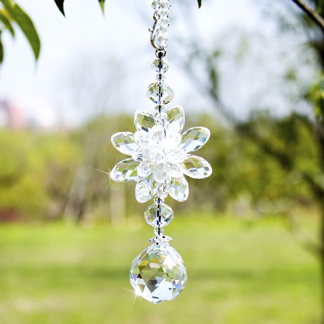 H&D HYALINE & DORA Clear Hanging Crystal Ball Prisms Flower Fengshui Ornament Suncatcher Rear View Mirror Car Charm Decor