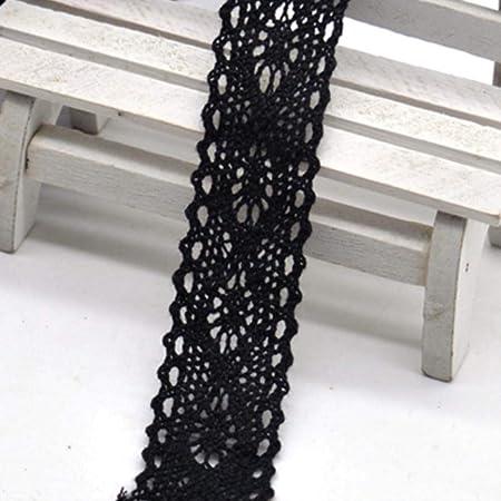 Cinta de tela de encaje negro de algodón con ribete de encaje para el hogar, cortinas, accesorios de ropa, bricolaje NO114 22 mm.: Amazon.es: Hogar