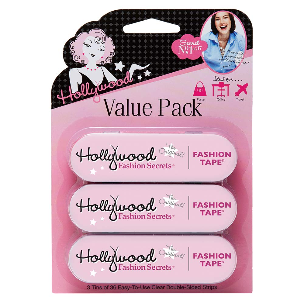Hollywood Fashion Secrets Medical Quality Double-Stick Apparel Tape, 3 tins x 36 strips Value Pack by Hollywood Fashion Secrets