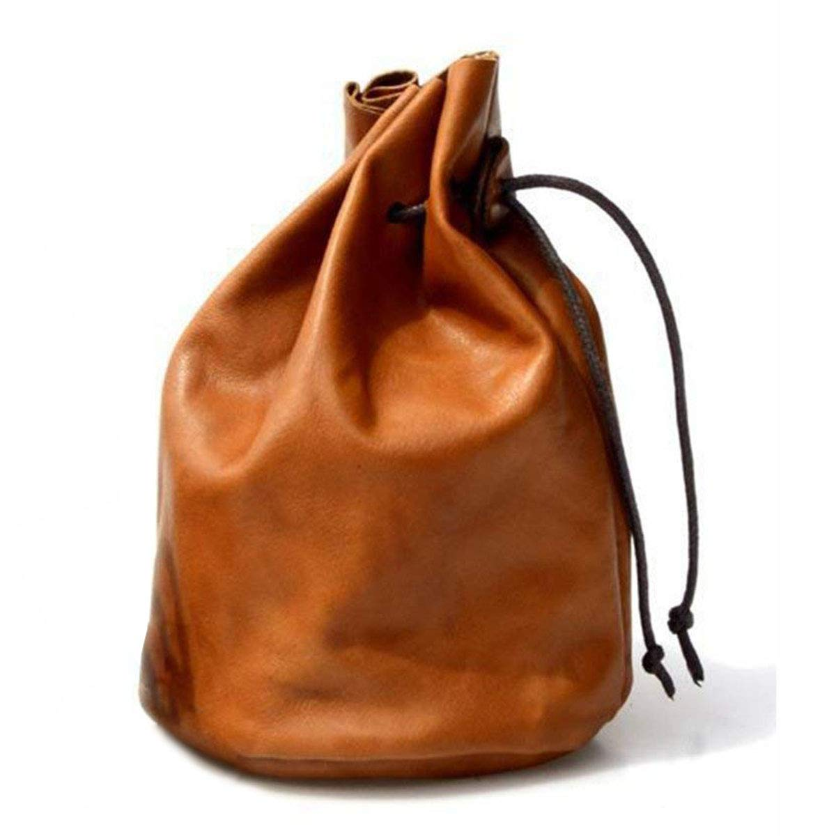 Handmade Ultra-Thin Soft Full Grain Cow Leather Drawstring Pouch Storage Bags, Brown (L) XMusk