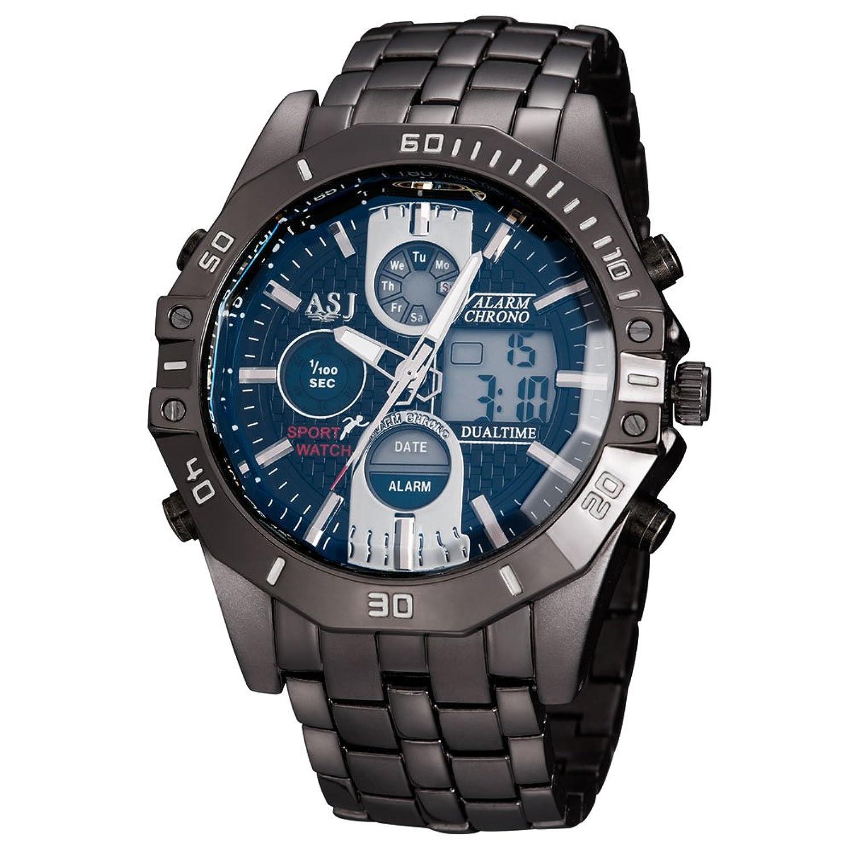 ASJメンズスポーツスタイルquartz-battery Movement防水手首腕時計ステンレススチールストラップ 1# B072HSKMQK1#