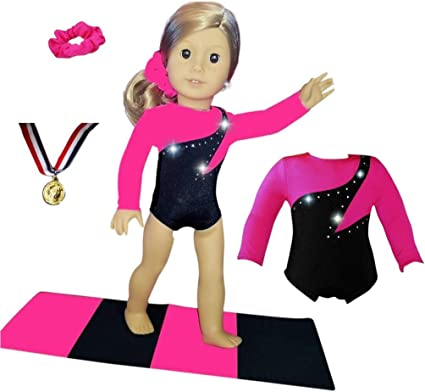"WHITE GYMNASTIC OUTFIT LEOTARD FOR 18/"" DOLL FITS AMERICAN GIRL OUR GENERATION"
