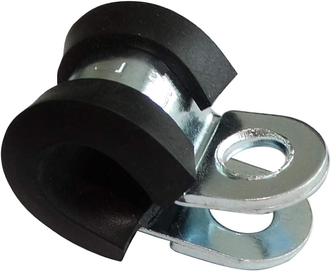 Juego de 5 abrazaderas de acero recubierto de caucho para mangueras cable alambre fijaci/ón por tornillo /Ø5mm AERZETIX