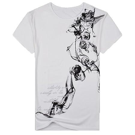 Hombre camiseta manga corta,Sonnena ❤ Chaleco de corte slim casual de verano para hombres Camiseta estampada de manga corta Blusa superior del jersey: ...