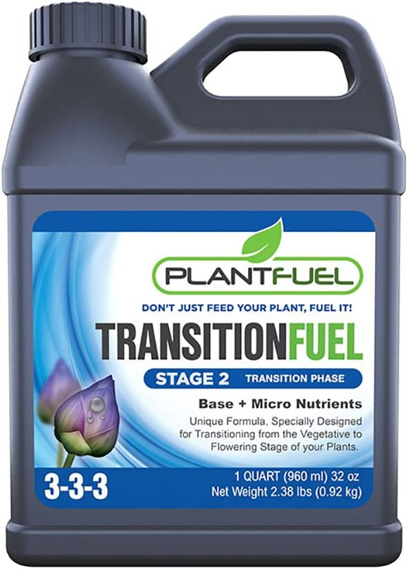 Plant Fuel Nutrients | TRANSITION FUEL | Liquid Fertilizer for Soil, Hydroponic and Other Grow Mediums. Formulated for the Transition between Vegetative and Bloom stages of your plant (Quart)