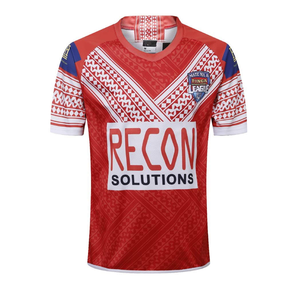 Red Large Team Tonga,Rugby Jersey,Home Edition,New Fabric Embroidered,Swag Sportswear