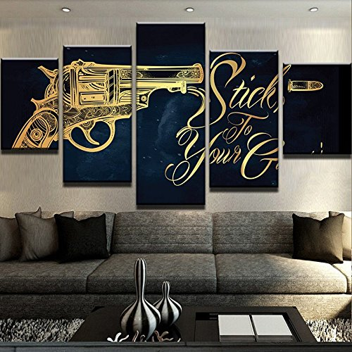 Canvas Painting Wall Art Oil Poster 5 Panel Gun Landscape, used for sale  Delivered anywhere in Canada