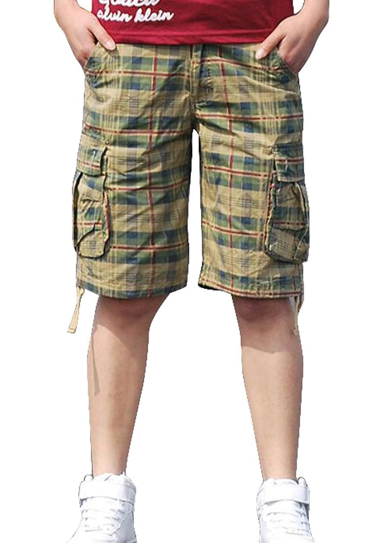 LD Mens Summer Cotton Multi-Pocket Loose Fit Plaid Cargo Shorts