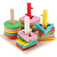 FITYLE Kids Wooden Stacking Toys & Shape Sorting Board - Geometric Shape Stacker