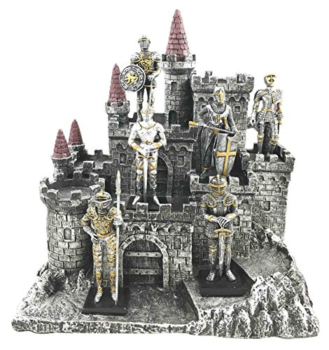 Figurine 6 Suit of Armor Knights Set & Medieval Castle Fortress Display Statue