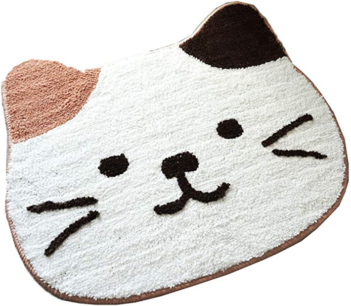 Cartoon Cute Cats Head Pattern Kitchen Bathroom Bath Door Floor Mat Bathmat Rug
