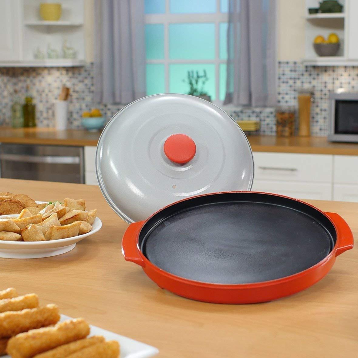 Heaviesk Bratpfanne Mikrowellengrillpfanne Mikrowellen-Crisper-Platte mit Deckel für die Küchenmikrowelle, die die die Grillofen verwendet B07PHSJJRD Betttaschen 94943f