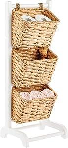 mDesign 3 Tier Vertical Standing Storage Basket Stand, Decorative Wood Storage Organizer Tower Rack with 3 Basket Bins - White/Natural/Tan