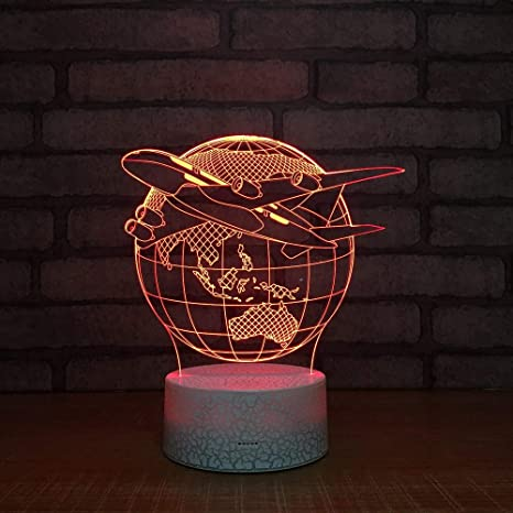 3D Ilusión óptica Lámpara LED Luz Construcción de aviones de ...