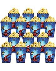 Qemsele Popcorn Tassen Popcorn Dozen, 30 Pack Cartoon Papieren Snoep Containers Popcorn Cups Party Bag Treat Boxes voor Verjaardagsfeesten, Filmavonden, Carnaval, Theater & Party Favors Gift (Spiderman)