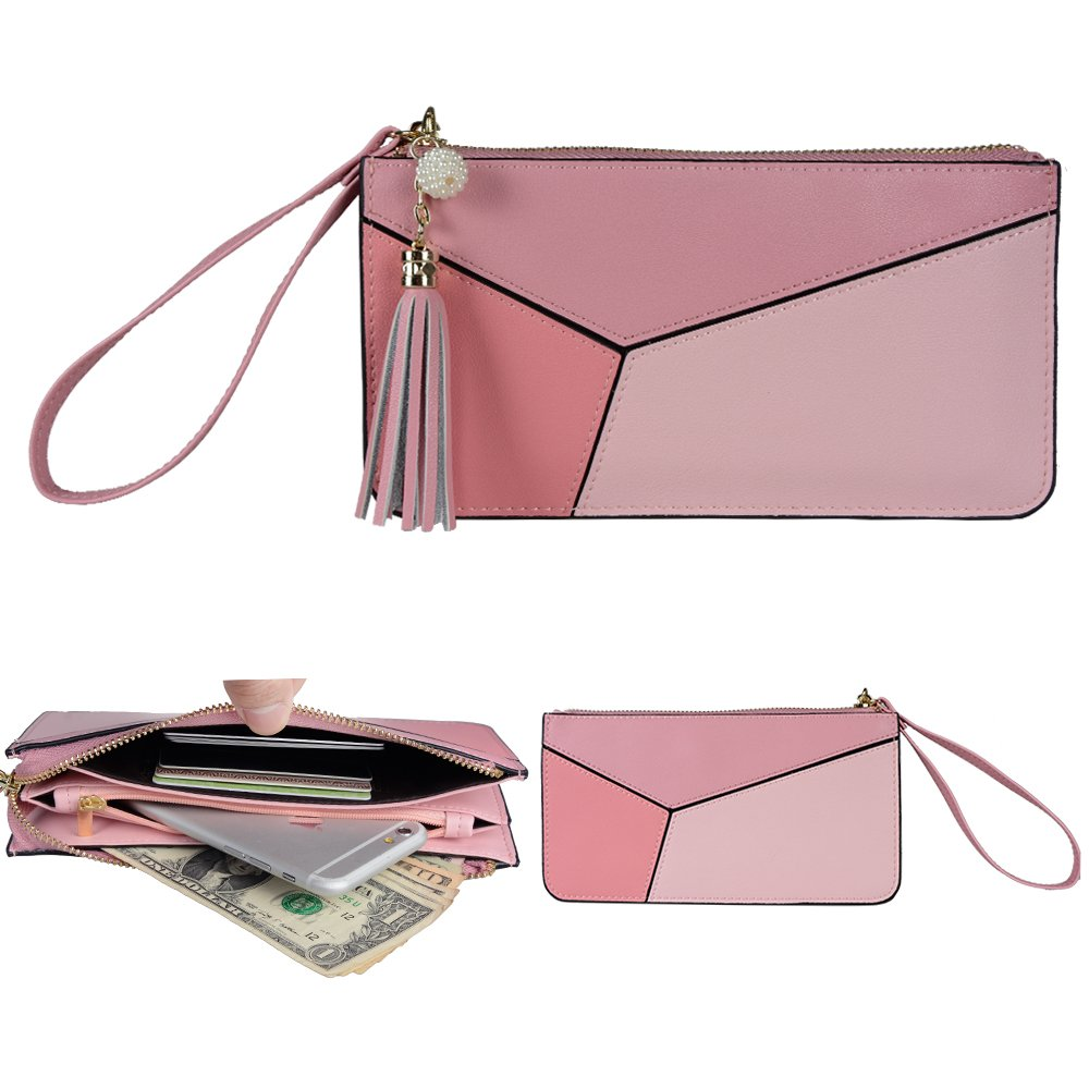 Befen Soft Leather Wristlet Phone Wristlet Wallet Clutch Tassels Wristlet/Wrist Strap/Card slots/Cash pocket - Pink Mix
