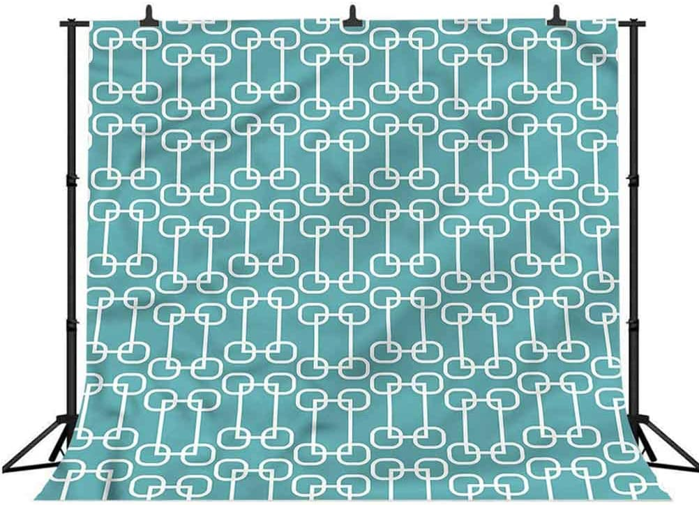 8x8FT Vinyl Photo Backdrops,Turquoise,Retro Squares Design Background Newborn Birthday Party Banner Photo Shoot Booth